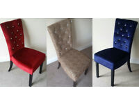 4 FABRIC VELVET DIAMANTE CRYSTALS HIGH BACK RED ROYAL BLUE LEOPARD PRINT DINING CHAIRS FREE DELIVERY