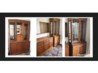 3 x large solid wood and glass display cabinets / sideboards