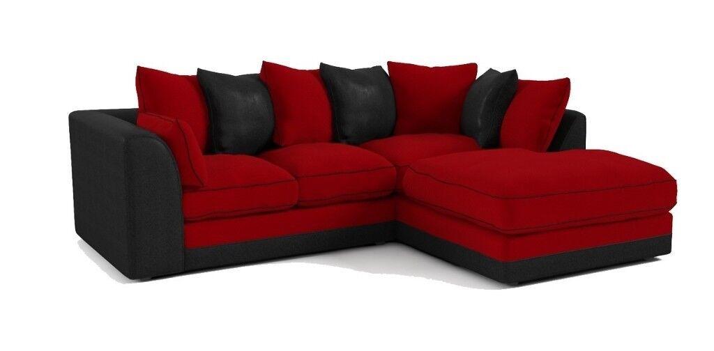 Dillon Right Hand Corner Sofa-Red / Black Snake - quick sale