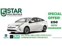 PCO CARS FOR HIRE PCO RENT UBER READY NEW TOYOTA PRIUS Inc Fully Comp Insurance(Whit)