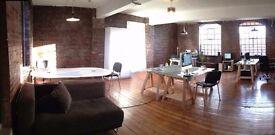 Desk space in loft style office. Super fast internet, meeting area plus espresso machine