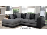BRAND NEW DYLAN BLACK/GREY OR SWIRL FABRIC CORNER SOFA + DELIVERY