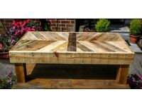 Brand New Hand Made Rustic Low Level Pallet Wood Coffee Table