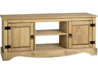 AVAILABLE NOW New Solid Corona Mexican Pine 2 door 4ft long TV unit £119 W120xD40xH51cm