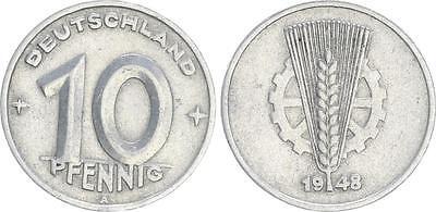 10 Pfennig DDR 1948 A Ährenseite rechts mit zusätzlicher dünner Granne, ss RRR!