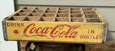 Coca-Cola Coke Yellow Wooden Crate 24 Bottle Carrier Case