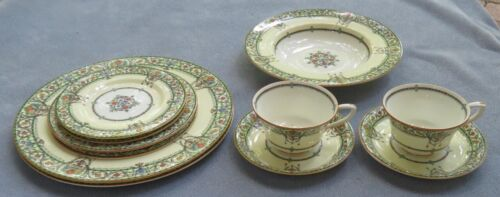 11 Pc Royal Worcester Chantilly Enameled Dinnerware Place Setting Soup England