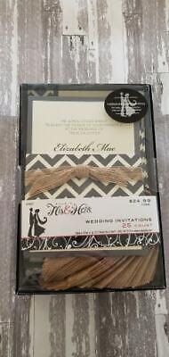 NEW 12 Chevron Burlap Ribbon Wedding Invitations His & Hers - 8.5
