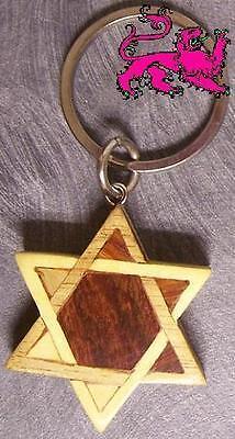 Intarsia Solid Wood Key Ring Religious Jewish Star Of David