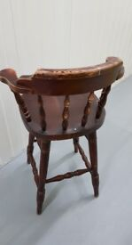 Pine bar stool , heavy with back rest.