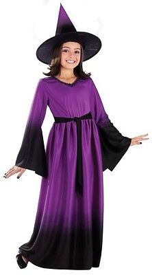 Girls Long Witch Costume Black/Purple Fancy Dress Witches Hat Gown Child Kids