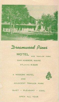Bar Harbor Maine ME Dreamwood Pines Motel Old Brochure