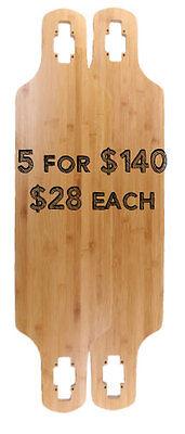 "5 blank longboard decks: 36"" x 9.5"" Drop Through Bamboo"