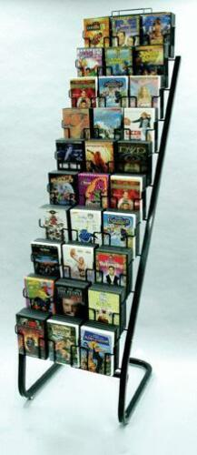 Floor DVD Display Rack - 10 Tier 30 Pocket (Black)