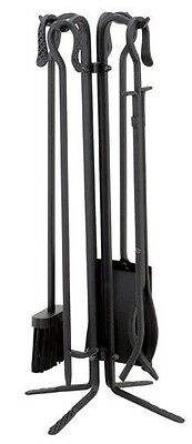 Uniflame Black Wrought Iron Fireplace Tools 5-pc Set with Crook Handles T18070BK ()