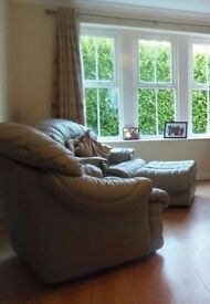 Pale green leather sofa set - 2 single seater & 1 3 seater. In very good condition