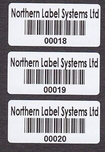1,000 26mm x 12mm Gloss White Serial Number / Barcode / Numbered Labels