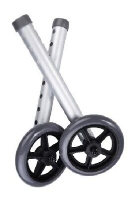 Universal Walker Wheels, 5 Inch, With Rear Glides - One Pair