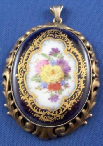 Antique Meissen Porcelain Floral Pendant Porzellan Anhaenger German Germany