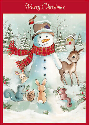 Snowman with Woodland Animals Box of 18 Christmas Cards