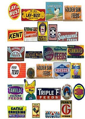 O Gauge Feed & Farm Decals for your Model Train Signs for buildings, Barns