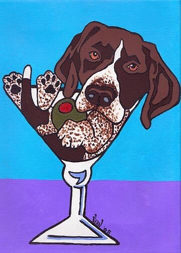 13x19 GERMAN SHORTHAIRED POINTER Signed Dog Pop Art PRINT of Painting by VERN