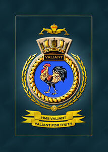 HMS VALIANT FRAMED SHIPS CRESTS - HUNDREDS OF HM SHIPS IN STOCK