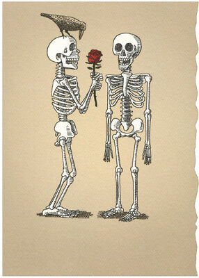 Romantic Halloween Cards (Two Skeletons With Rose Romantic Halloween Card - Recycled Paper)