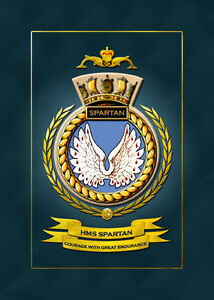 HMS SPARTAN FRAMED SHIPS CRESTS - HUNDREDS OF HM SHIPS IN STOCK