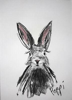 A3 ORIGINAL ART * Charcoal on Art Paper * BUNNY RABBIT    * Art By Poppi
