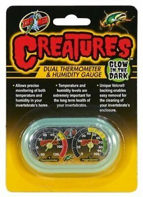 ZOO MED HERMIT CRAB GLOW IN DARK CREATURES THERMOMETER & HUMIDITY FREE SHIP USA
