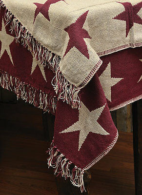 Country Primitive Cotton Burgundy Star Woven Blanket Throw