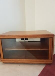 Wooden TV Stand with Glass Doors