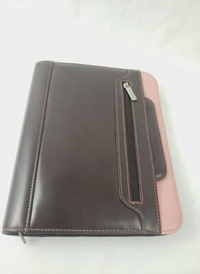 Day One Franklin Covey 7 Ring Binder Zip Closure With Handles Brown Leather