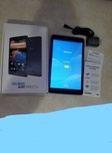 2 month old Alcatal A30 tablet WiFi Specs: Sim and SD card Blue