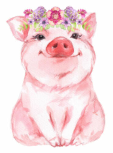 Hand Painted Watercolor Pink Shabby Pig Piglet Flowers Waterslide Decals AN849