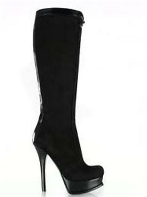 FENDI Fendista Black Suede Tall Knee High FF Logo Inlaid Platform Boots 39 $1430