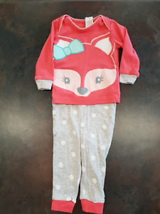 Girls George 2 Piece Pajama Set Size 6-12 Months