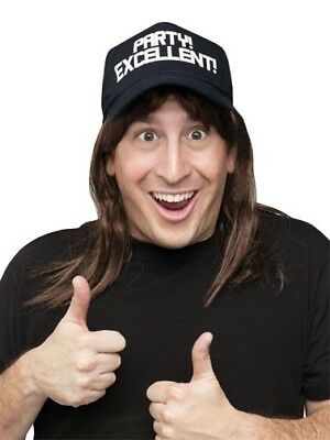 Waynes World Wig (Mens Adult Waynes World Party Excellent! Wayne Hat & Wig Costume)