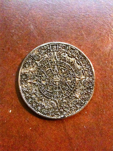 Ancient Mayan, Aztec, Inca Calendar Coin, Gold, Metal