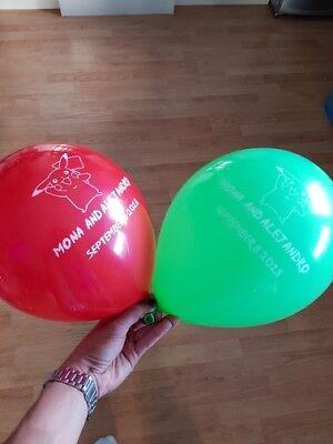 100 pcs Personalized Custom Print Balloon Wedding Birthday Quality Latex 10