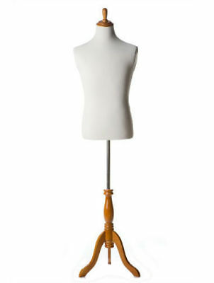 Mens White Suit Dress Form With Maple Base