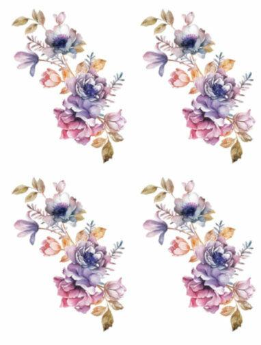 Shabby Watercolor Pastel Peonies Roses Swag Transfers Waterslide Decals FL378
