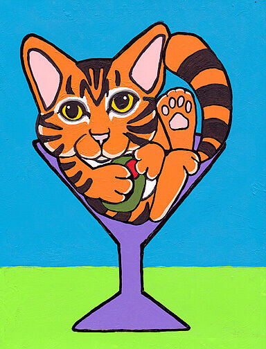 11X14 ORANGE TABBY MARTINI Domestic Shorthair DSH Cat Art PRINT of Painting VERN