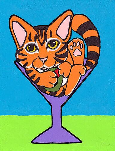 ORANGE TABBY Domestic Shorthair DSH CAT MARTINI GLASS Art PRINT of Painting VERN