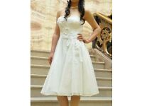 Coast Ivory/white Strapless Sweetheart Tulle Wedding Dress - Floral - A line - as good as new!