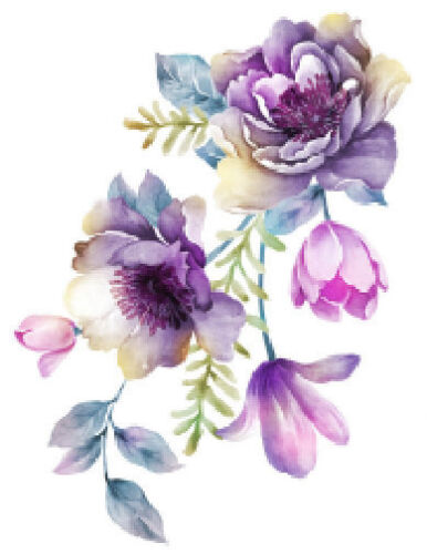 Shabby Pastel Watercolor Flower Floral Bouquet Transfers Waterslide Decals FL439