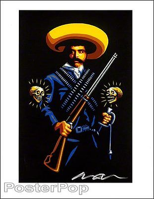 "Marco Almera Zapata Signed 8.5x11"" Giclee Print Pancho Villa Day of the Dead"