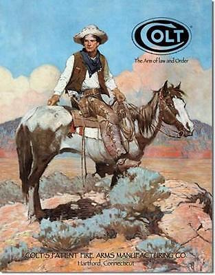 Colt Revolver Cowboy Reiten Westernreiten USA Metall Plakat