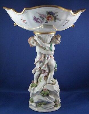 Rare 1750 Meissen Porcelain Harbor / Merchant Scenic Scene Dish Porzellan Scene